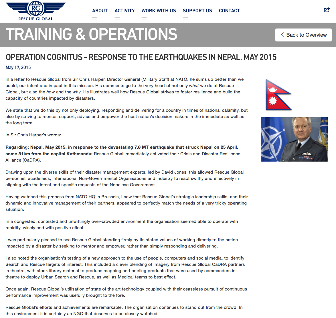 Operation Cognitus - Response to the Earthquakes in Nepal, May 2015