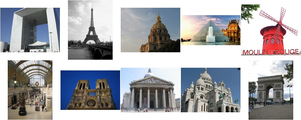 Various Paris landmarks